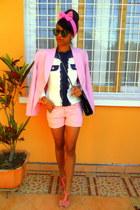 light pink blazer - white Chanel like blazer - shorts
