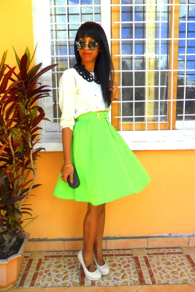 chartreuse neon skirt - cream sweater - eggshell heels