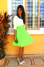 Chartreuse-neon-skirt-cream-sweater-eggshell-heels