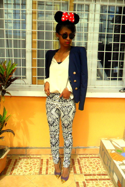H&M pants - navy Vila blazer - H&M Round sunglasses - cream blouse