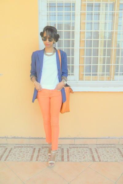 blue vintage blazer - light orange Skinny jeans