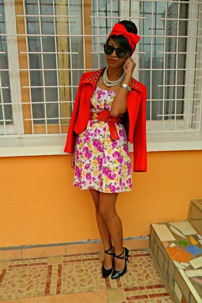 floral dress - red Max Mara jacket - Modernity heels