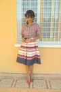 Red-plaid-shirt-blue-striped-worn-as-a-skirt-dress