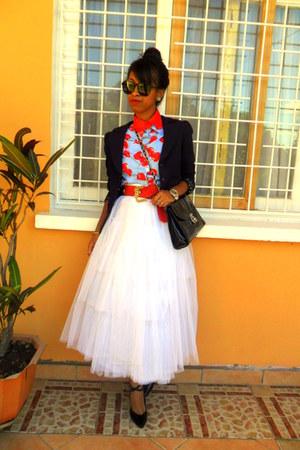 sky blue cherry print shirt - red diy detachable collar accessories