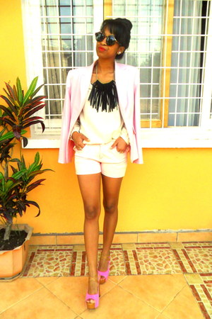 black fringed DIY necklace - light pink blazer - neutral shorts - H&M sunglasses