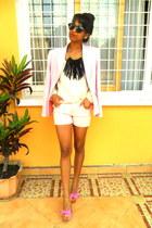 black fringed DIY necklace - light pink blazer - neutral shorts - H&M sunglasses