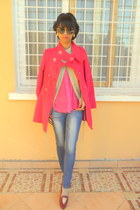 hot pink coat - ruby red slippers flats
