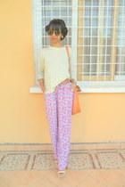 cream sweater - orange bag - magenta floral pants - sandals