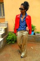 golden palazzo pants - red Max Mara jacket - blue denim shirt