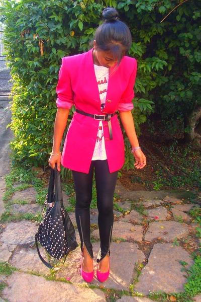 796756c9ee5 hot pink Vertigo blazer - black V S bag - hot pink Christian Louboutin heels