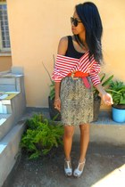 beige Paradise snake print skirt - red striped top