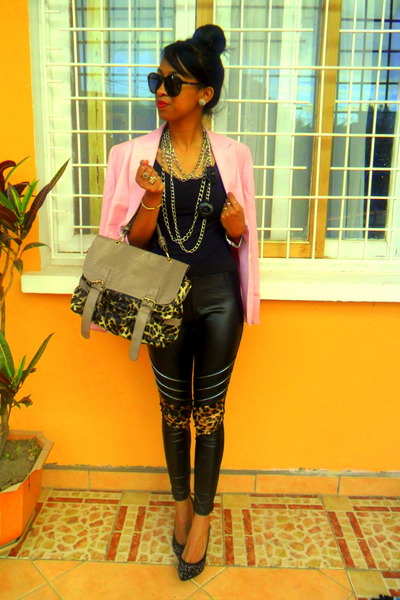 black faux leather leggings - light pink blazer
