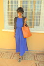 Blue-dress-carrot-orange-bag-black-studded-slippers-flats