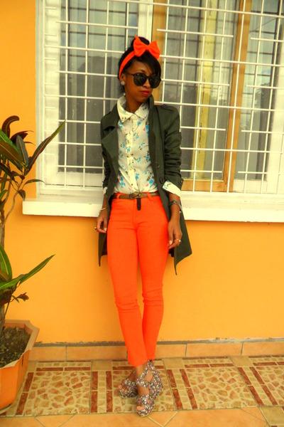 floral wedges - orange Skinny jeans - carrot orange DIY bow headband accessories