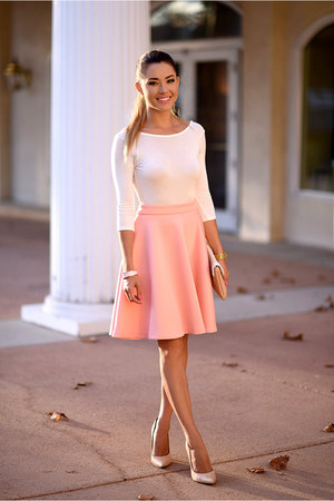 peach shein skirt - cream Boohoo bodysuit