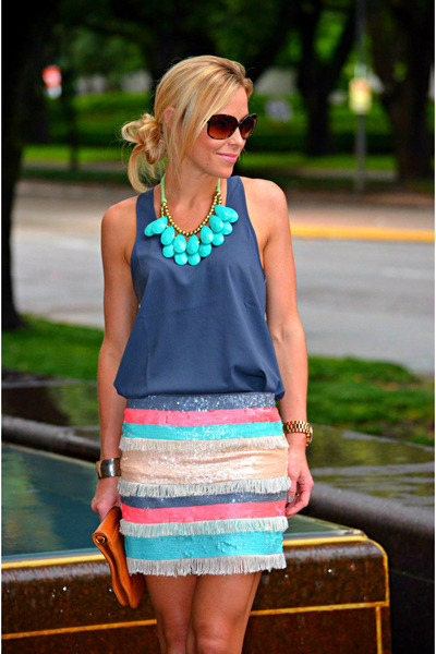 bubble gum Zara skirt - navy Nordstroms shirt