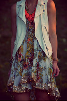 white Zara vest - dark khaki free people dress