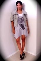 fuschia dress - Mink Pink jacket - cotton on t-shirt - Diba shoes