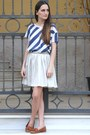 Blue-drdenim-shirt-off-white-bonsui-skirt