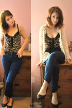 white lace pretty sunday cardigan - Topshop jeans - leopard print Topshop top