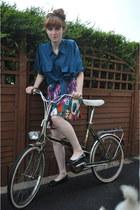 teal mens silk thrifted vintage shirt - violet thrifted vintage skirt - black pa