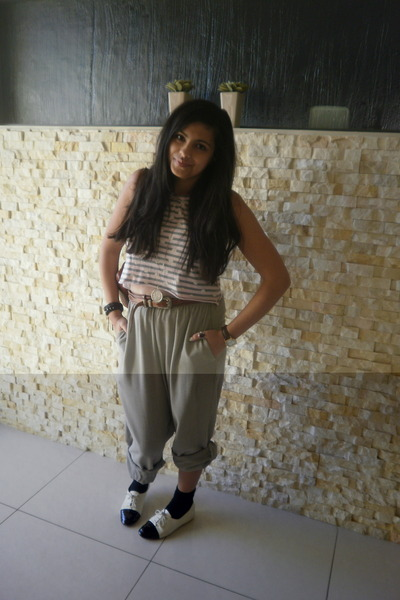 brown belt - pink top - beige pants - white Yesstyle shoes - accessories - black