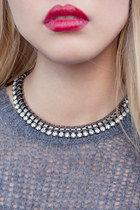 Crystal Gun Metal Necklace