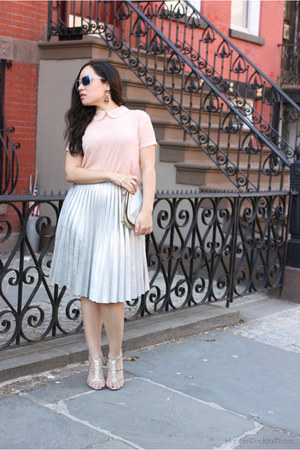 metallic Lulus skirt - holographic Kelsi Dagger bag - Forever 21 top