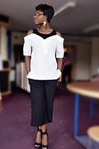 white oversized shirt Aliexpress shirt - black culottes Peacocks pants
