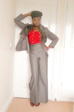 heather gray St Michaels blazer - heather gray wide leg Todays woman pants