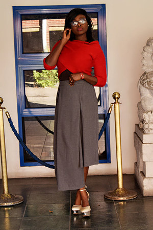 red off shoulder Aliexpress blouse - heather gray Aliexpress pants