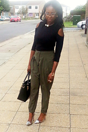 olive green wrap over Topshop pants - black Newlook top