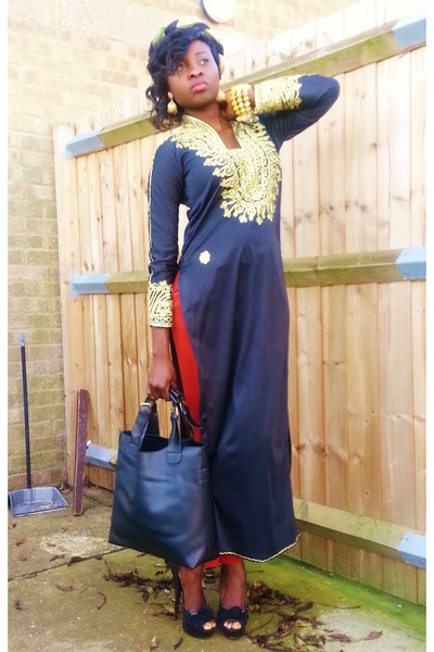 kaftan thrifted dress - tapered Primark pants - Primark heels