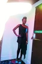 dip hem black miss butterfly dress - peeptoes turquoise Litmagic shoes