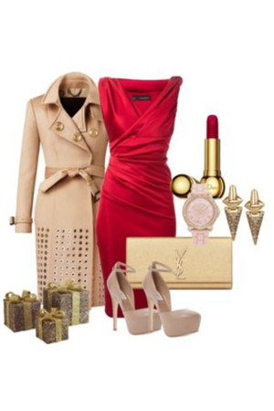 tan trench coat Burberry coat - red midi Dsquared2 dress