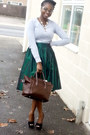 Silver-plain-topshop-jumper-dark-green-full-diy-skirt