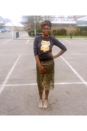 navy Navy Blues top - camel lace midi TJMaxx skirt