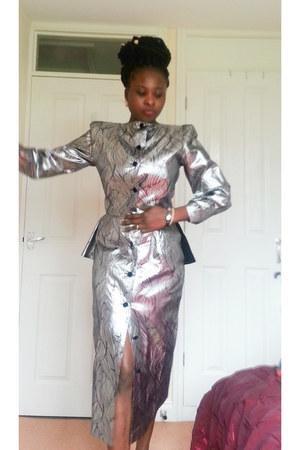 silver midi Entente dress