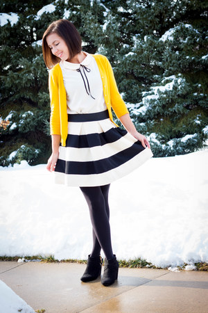striped modcloth skirt - modcloth top - mustard modcloth cardigan
