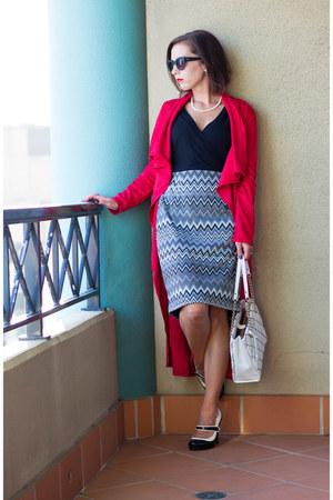 red makemechic coat - modcloth dress - kate spade bag