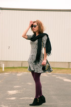 purple modcloth tights - Target boots - H&M dress
