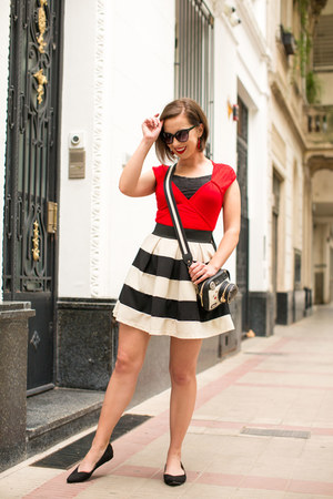 Betsey Johnson bag - black Chinese Laundry wedges - striped modcloth skirt