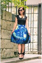 midi makemechic skirt - bow PINKBASIS heels - modcloth top
