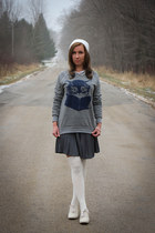 kitty modcloth sweater - modcloth shoes - modcloth skirt - modcloth stockings