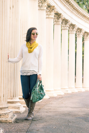 asymmetrical Eleanora Grace sweater - Amazon boots - mustard modcloth scarf
