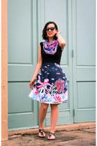 modcloth skirt - Forever 21 scarf - Polette sunglasses
