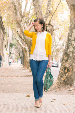 navy high-waisted Judy Blue jeans - yellow modcloth cardigan