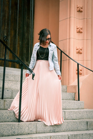 maxi shein skirt - jean hollister jacket