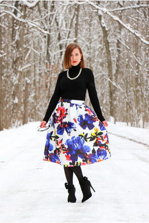floral Sheinside skirt - bow Pink Basis heels