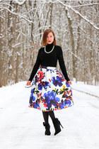 floral Sheinside skirt - bow Pink Basis heels